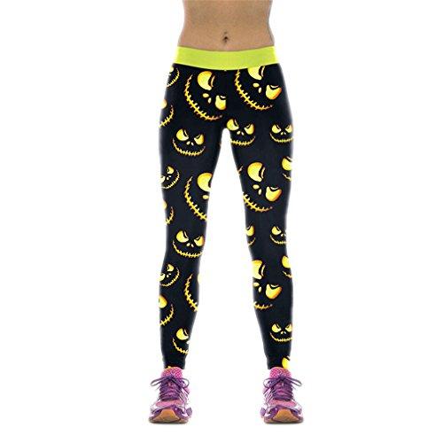 mes Gros Leggings Collants sportifs Halloween Lighting Jack-O'-Lantern Leggins Imprimé Mujer WKYK1008 L Remise en Forme (Halloween-leggings)