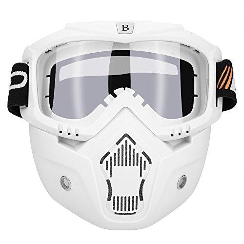 Qiilu Goggle Lunettes Masques et lunettes Ski Lunettes de protection pour Extérieur Activité Moto Cross Google VTT Vélo Snowboard Anti-UV Anti-brouillard Anti-sable Anti-poussière lunette pour Activités Extérieures vélo Moto Cross VTT Ski Snowboard Cyclisme Goggles (masque blanc + lunette blanc)