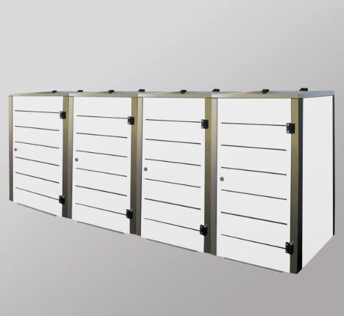 Mülltonnenbox Edelstahl, Modell Eleganza Line, 120 Liter, Viererbox, Weiss