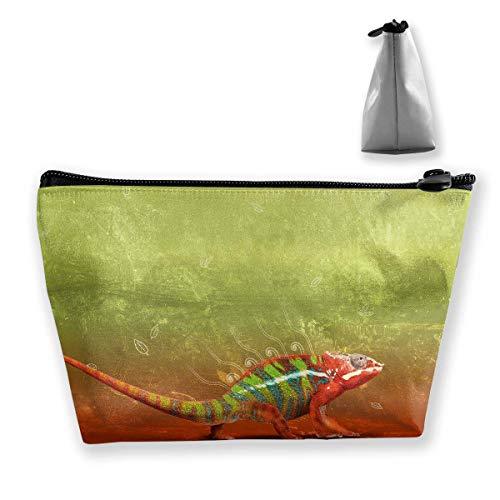 Trapez-Kulturbeutel Tragbare Reisetasche Lizard Green Red Cosmetic Bags Red Patent Lizard