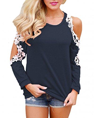 Damen Shirt Schulterfrei, StyleDome Sexy Damen Herbst Langarm Shirt Sterne Drucken Schulterfrei Asymmetrisch Jumper Locker Bluse Tops Pullover Lace Halter Neck Top