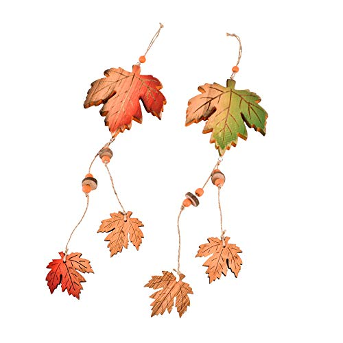 Dadeldo-Home Girlande Blätter Herbst-Design 2er-Set Deko Holz Gelb-Orange (47x11cm)