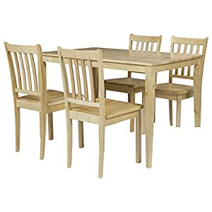 Natural Read Essen Dining Table and 4 Chairs Solid Wood Kitchen Dinner Seater: Amazon.co.uk