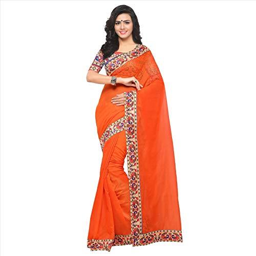 Indian Bollywood Wedding Saree indisch Ethnic Hochzeit Sari New Kleid Damen Casual Tuch Birthday Crop top mädchen Cotton Silk Women Plain Traditional Party wear Readymade Kostüm (Safety orange) -