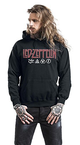 Led Zeppelin Logo & Symbols Sweat à capuche noir Noir