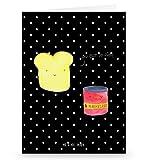 Mr. & Mrs. Panda Grußkarte Toast & Marmelade - 100% handmade in Norddeutschland - Einladung, Dreamteam, Einladungskarte, Karton, Pappe, Papier, süß, Grusskarte, Toast , Toastbrot,, Klappkarte, Karte