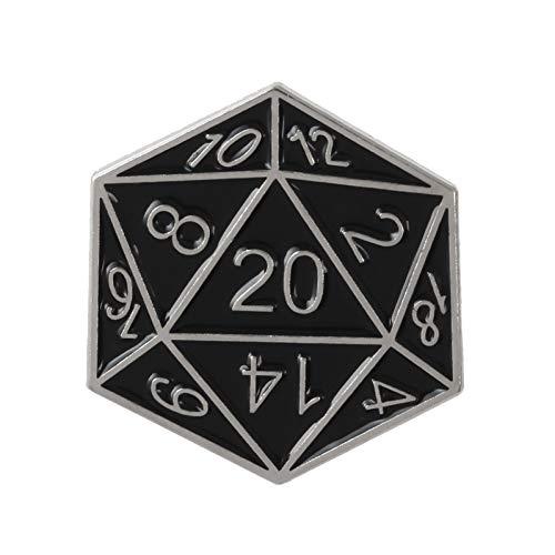 JTXZD Brosche Pins Twenty-Sided Die Pin für Dungeons und Fans Abzeichen Tischspiel Soft Emaille Broschen Pin für