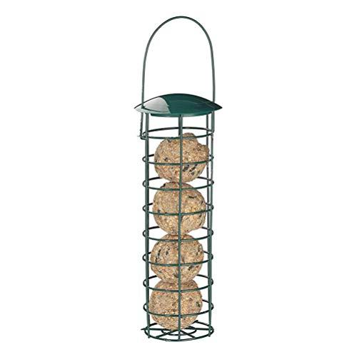 Pywee Meisenknödelhalter zum Aufhängen, Futterspender für Wildvögel, Futtersäule mit Dach, Eisen, 31 cm, dunkelgrün -