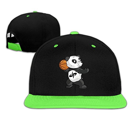 hittings Kid Cool Dude Perfect Panda Basket Contrast Color Flat Brim Hat Red Kelly Green
