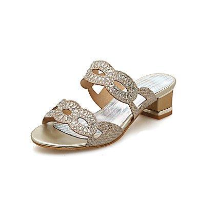 Pantofole & flip-flops Comfort estivo di Materiale personalizzato parte & abito da sera Casual Chunky tacco Strass Silver Gold a piedi US5 / EU35 / UK3 / CN34