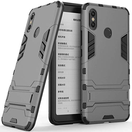 Case for Xiaomi Mi Max 3 (6.9 inch) 2 in 1 Shockproof with Kickstand Feature Hybrid Dual Layer Armor Defender Protective Cover (Grey)