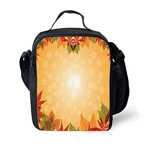 Aspen Labs (ZKHTO School Supplies Harvest,Striped Dotted Background and Vibrant Maple Aspen Oak Leaves Seasonal Nature Decorative,Red Green Orange for Girls or Boys Washable)