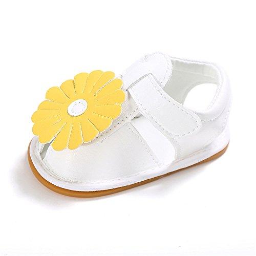 Estamico Baby Mädchen Anti-Rutsch Gelbe Sonnenblume Sommer Schuhe Säuglings Sandalen 0-6 Monate (Sonnenblume Produkte)