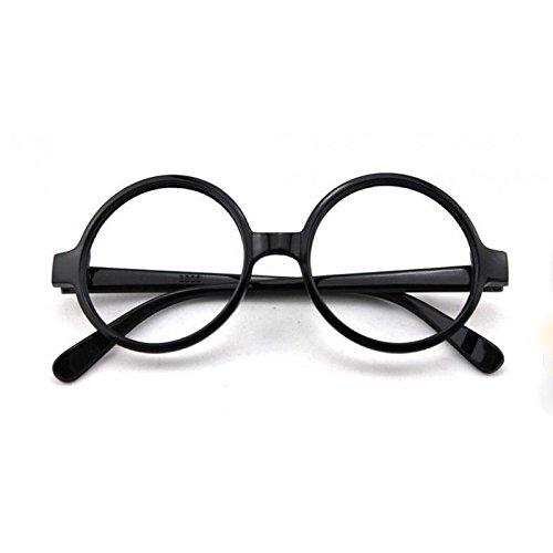 (Mytoptrendz® Unisex-Nerd-Brille im Retro-Stil, mit klaren Brillengläsern, rund, schwarz)
