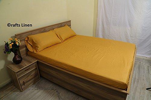 Satin-streifen-600-thread (Crafts Leinen Ägyptische Baumwolle 600-thread-count Satin One Spannbetttuch und zwei Kissen Fall., baumwolle, Gold Stripe, Super King)