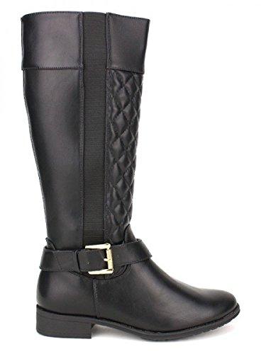 Cendriyon, Botte cavalière noire FDM Mode Chaussures Femme Noir