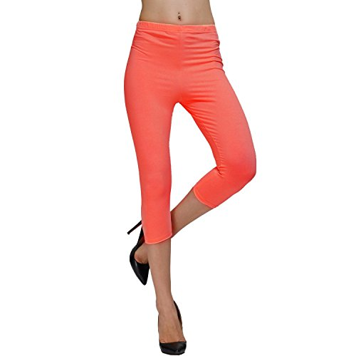 DIAMONDKIT Stretch Baumwolle Capri Crop mit Naht Leggings Strumpfhose, Orange Medium