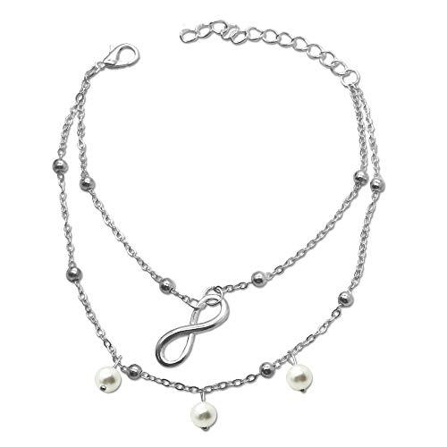 tumundo Fußkettchen Fuß-Kette Knöchel Fuß-Schmuck Silbern Edelstahl-Kette Damen Figaro-Kette Armband Ankerkette, Variante:Modell 4