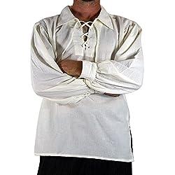 tianxinxishop Camisa con Cordones renacentista Medieval para Hombres Disfraz de Pirata de la Edad Media Blanco, S
