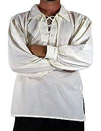 6041d12b0f tianxinxishop Camisa con Cordones renacentista Medieval para Hombres  Disfraz de Pirata de la Edad Media Blanco