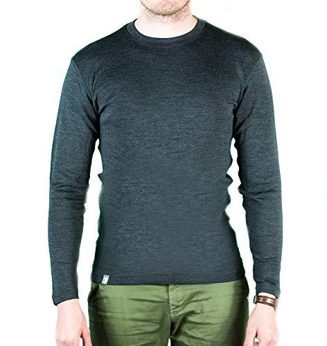 Alpin Loacker Merino Shirt Langarm | 100% Merinowolle Sweatshirt Herren | wärmeregulierendes Langarmshirt für Männer Sport & Freizeit | Grau Größe S -