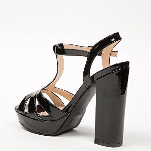 Ideal-Shoes Sandali con piattaforma Omega brillanti Nero (nero)