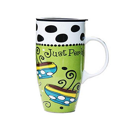 Blancho Colorful Céramique Tasse à café/tasse de café avec des points noirs Motif, Vert