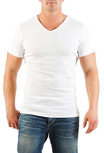 2er Pack Herren T-Shirt mit V-Ausschnitt Nr. 446/1500 ( Weiß-Weiß / XXL ) - 2