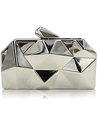 Flada mujeres bolsos simple de metal caja de hierro en forma de diamante noche Embragues Bolsas