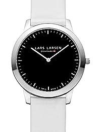 Lars Larsen René Unisex Quarzuhr mit schwarzem Zifferblatt Analog-Anzeige und weiße Lederband 135SBWL