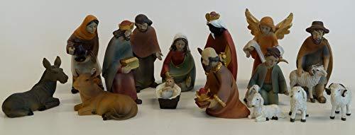 Wunderschöne Krippenfiguren, 15-teiliges Set F36/10 10 cm hoch, in modernerem Design, handbemalt in hochwertiger Ausführung