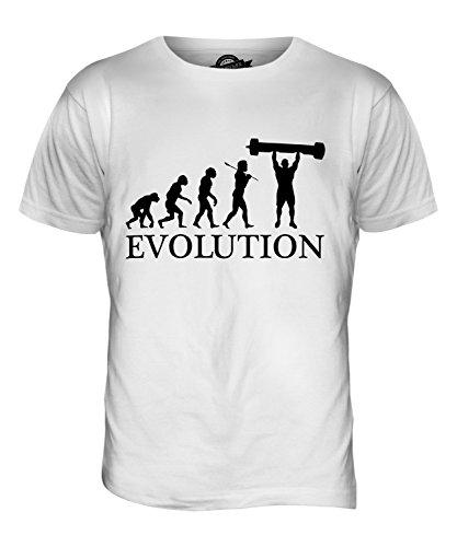 CandyMix Log Presse Lift Evolution Des Menschen Herren T Shirt Weiß