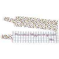 Cadeau maître maîtresse ATSEM, marque-page personnalisé tissu cahier d'école et coton multicolore, Cadeaux personnalisés