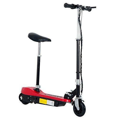 Homcom Elektroroller Kinderroller Roller mit Sitz Tretroller klappbar 120W (Rot)