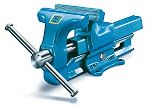 HEUER 100120 Schraubstock (120 mm) | ganz aus Stahl (unzerbrechlich) mit integriertem Amboss und Trapezgewinde, für höchste Präzision | Backenbreite: 120mm, Durchmesser: 16-55mm, 9 Kg