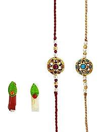 Mehrunnisa Handmade Exquisite Golden Bead Rakhi With Roli & Chawal