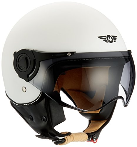 Moto Helmets H44 - Helmet Casco de Moto , Blanco Matte, S (55-56cm)