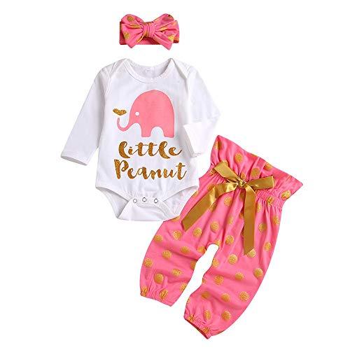 Kobay Babykleidung Mädchen Winter Elefant Brief Print Strampler Tops Dot Pants Hair Band Set(12-18M,Weiß)