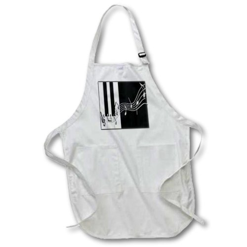 3dRose apr_24372_2 Silver Music Notes on Piano Keys Medium Length Apron with Pouch Pockets 22 by 24