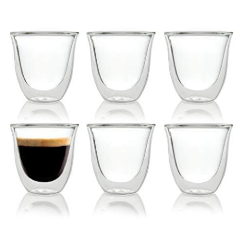 Caffé Italia Napoli 6 x 60 ml Doppelwand-Thermo-Gläser - für Espresso Tee Heiß- und Kaltgetränke - spülmaschinengeeignet -