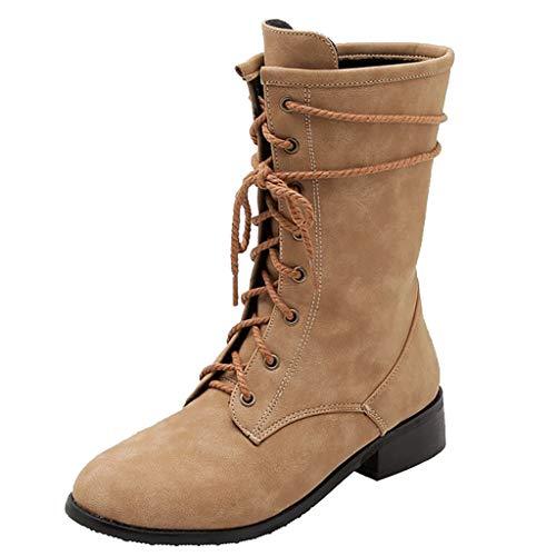 LILIHOT Vintage Women Boots Mode Reine Farbe Round Toe Schnürung Stiefel Chunky Heels Snow Winter Waterproof Rain Boots Damen Boots Stiefel Schnee Stiefel Wasserdicht Gefüttert Regen Stiefel -