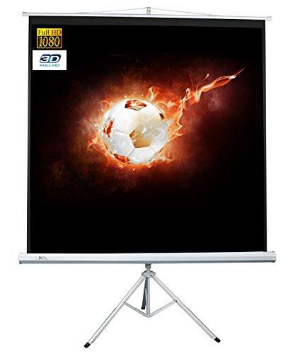 Luxburg® Beamer Stativ Leinwand für Heimkino/Gaming/Streaming 152x152 cm (Diagonale 215 cm / 85 Zoll) FullHD 3D