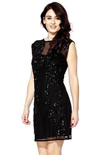 1920Vintage Donna Stile Charleston Flapper Gatsby Abbey Sequin Shift vestito con frangia di perline Black