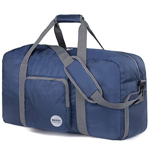 WANDF Faltbare Reisetasche Leichter Sporttasche mit Schulterriemen und Schuhfach für Reisen Sport Gym Urlaub 10 Farbewahl (Dunkelblau, 85L)