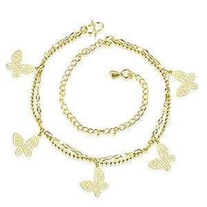 Boowhol Damen Mädchen schmetterling Doppelketten Armbänder/ Fußkettchen Fußkette Verstellbar aus 925 Sterling Silber