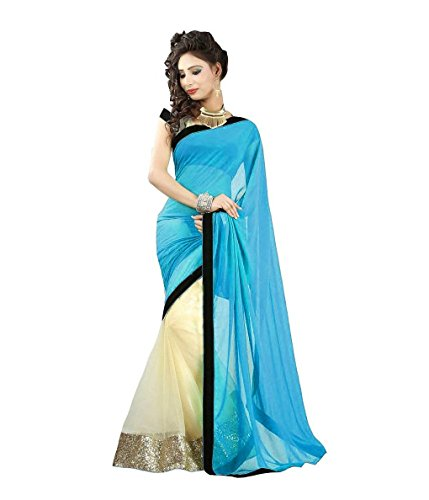 Fashion and Hub Women's Sky Blue Net Georgette Saree  available at amazon for Rs.438