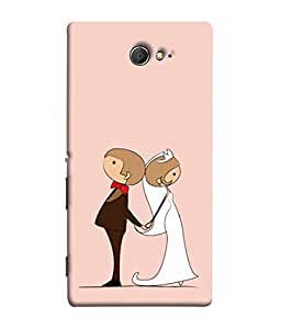 PrintVisa Designer Back Case Cover for Sony Xperia M2 Dual :: Sony Xperia M2 Dual D2302 (Newly Married Couple In Pink Backgroundly Marr)