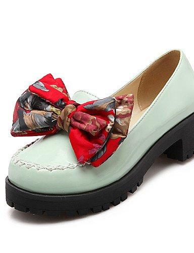 WSS 2016 Chaussures Femme-Habillé / Décontracté-Noir / Vert / Rouge / Beige-Gros Talon-Talons-Chaussures à Talons-Similicuir black-us5 / eu35 / uk3 / cn34