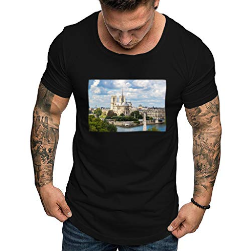 Eaylis Herren T-Shirt Tops Muskelshirt T-Shirt Mit Notre Dame-Aufdruck