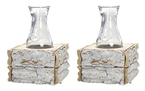 Glas-postfach Antike (Glas-Vasen im Holz-Rahmen 2 Stück)